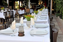 Restaurant patio tables. Tables setting at outside dining area of restaurant Royalty Free Stock Image