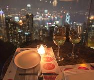 Restaurant on The Peak at night. Hong Kong. Royalty Free Stock Image