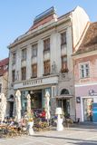 Restaurant in the pedestrian part of Brasov, Romania stock photo