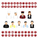 Restaurant People And Map Icons Set. Vector Royalty Free Stock Images