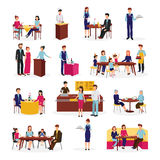 Restaurant People Situations Flat Icons Set royalty free illustration
