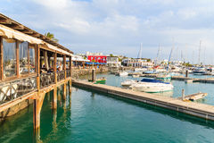 Restaurant and pier in Rubicon port Royalty Free Stock Photo
