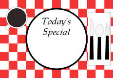 Restaurant Place Setting. Red checkered tablecloth, plate, spoon, fork, napkin, and a cup of coffee.  All viewed as if from above looking down.  Cup, plate, and Royalty Free Stock Image