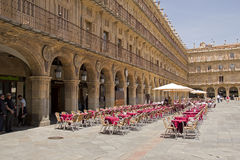 Restaurant at Plaza Mayor in Salamanca, Spain Royalty Free Stock Images