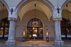 Restaurant portal in an renaissance building at christmastime Stock Images