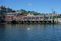 Restaurant portuaire de homard dans le port historique de barre image stock