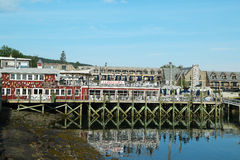 Restaurant portuaire de homard dans le port historique de barre, Maine photographie stock