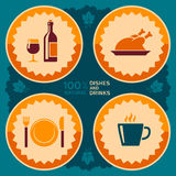 Restaurant poster design with food and drink icons Stock Photo