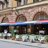 Restaurant Prinsen. At Mäster Samuelsgatan in Stockholm stock images