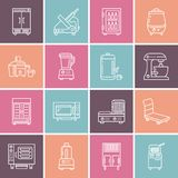 Restaurant professional equipment line icons. Kitchen tools, mixer, blender, fryer, food processor, refrigerator. Steamer, microwave oven. Thin linear signs vector illustration