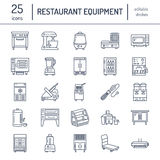 Restaurant professional equipment line icons. Kitchen tools, mixer, blender, fryer, food processor, refrigerator Stock Photography