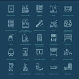 Restaurant professional equipment line icons. Kitchen tools, mixer, blender, fryer, food processor, refrigerator Royalty Free Stock Images