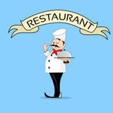 Restaurant professionnel de bannière des textes de With Dish Server de cuisinier Images stock