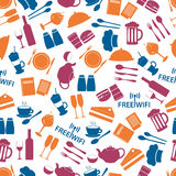 Restaurant and pub color seamless pattern Stock Images