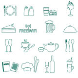 Restaurant and pub outline icons set Royalty Free Stock Image