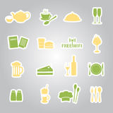 Restaurant and pub stickers eps10 Stock Image