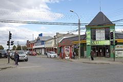 Restaurant in Punta Arenas, Chile. Restaurant along the street in Punta Arenas, Chile. Punta Arenas is the capital city of the Magallanes and Antartica Chilena stock photos