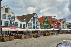 Restaurant on the quay. Stavanger, Norway - July 26, 2015:  The restaurant on the quay port of Stavanger. Fjord - Boknafjord, county Rogaland region Vestlandet Stock Photography