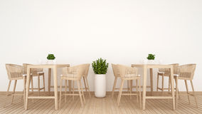 Restaurant 0r coffee shop on wood design - 3D Rendering Royalty Free Stock Photo