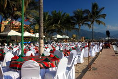 Restaurant ready for party. On the ocean shore in tropical area Stock Image