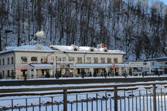 Restaurant Red Fox in the village Rosa Khutor Royalty Free Stock Images