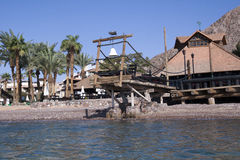 Restaurant is on Red Sea coast Royalty Free Stock Image