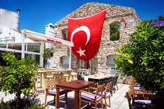 Restaurant with Red Turkish flag Stock Image