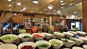 Restaurant in resort hotel in Kemer, Antalya, Turkey royalty free stock photography