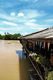 Restaurant beside the river with beautiful sky Royalty Free Stock Photography