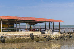 Restaurant on river Gambia. Place at the river in Gambia . West Africa stock photos