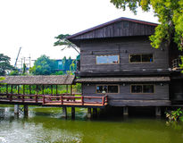 The Restaurant by the river. In thailand Stock Photos
