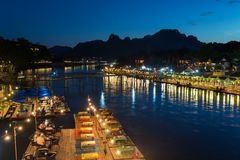 Restaurant on the riverfront at night in Vang Vieng, Laos Stock Photography