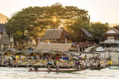 Restaurant on the riverfront during sunset in Vang Vieng, Laos Stock Images