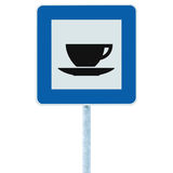 Restaurant road sign on pole post, traffic roadside signage, blue isolated bistro dinner bar cafe cafeteria catering coffee cup Stock Photography