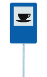 Restaurant road sign on post pole traffic roadsign, blue isolated bistro dinner bar cafe cafeteria catering coffee tea cup service Stock Image