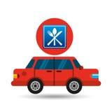 Restaurant road sign sedan red. Vector illustration eps 10 Stock Photography