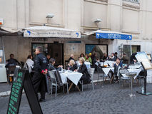 Restaurant in Rome. Typical restaurant in the street Via del Portico d`Ottavia. Ghetto of Rome Stock Photography