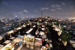 Restaurant at the Rooftop, Bangkok Stock Photo