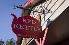 Restaurant rouge de bouilloire Photos stock
