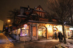 Restaurant's facade in Zakopane at night Royalty Free Stock Image