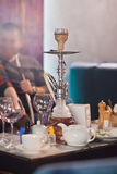 The restaurant`s interior with hookah Royalty Free Stock Photography