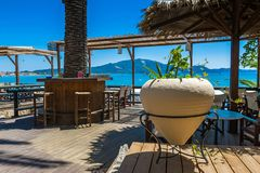 Restaurant`s patio with sea view Royalty Free Stock Photography