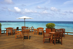 Restaurant's Platform With Sea View. A seaside restaurant has a sea view platform Royalty Free Stock Images