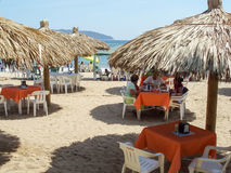 Restaurant on sandy beach Royalty Free Stock Images