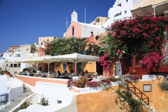 Restaurant in Santorini Stock Photography