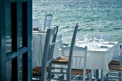 Restaurant on the sea stock image