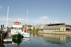 Restaurant By The Sea. A Restaurant overlooking a boat dock in Kennebunkport, Maine Stock Photos