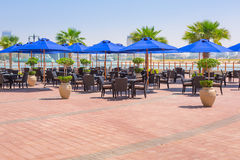 Restaurant at the sea in Abu Dhabi Royalty Free Stock Photos