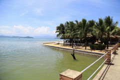 The restaurant with the sea and blue sky and cloud. At Payam Island, Ranong, Thailand Stock Image