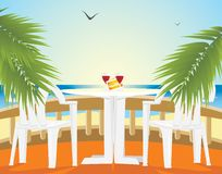 Restaurant at a sea. Kind from a balcony Royalty Free Stock Photo